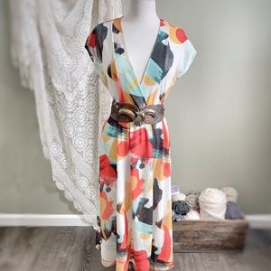 ZARA   Deep V Wrap Kimono Midi Dress